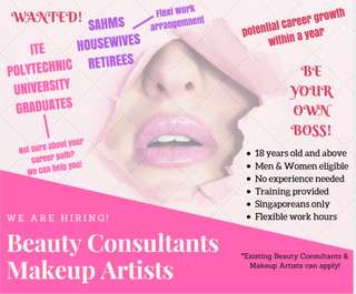 Seeking aspiring and existing beauticians, beauty consultants and makeup artists!