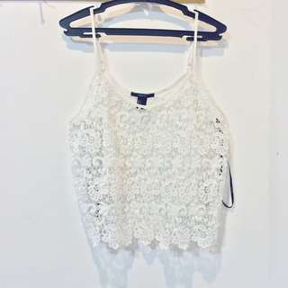 Forever 21 Lace Semi Crop Top