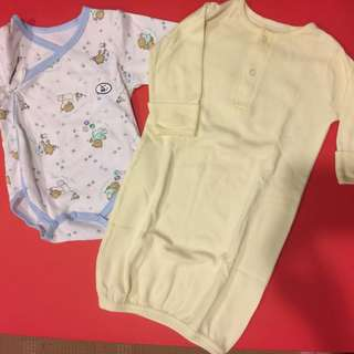 (0-3 mos) Uniqlo and other imported baby clothes, sleepsuit, tie sides