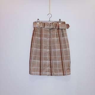 售出___淺卡其格子裙   日本古着