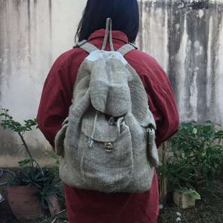 One of a Kind Woven Backpack with Linen Lining