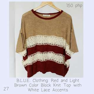 B.L.U.E. Clothing: Red and Light Brown Color Block Knit Top with White Lace Accents