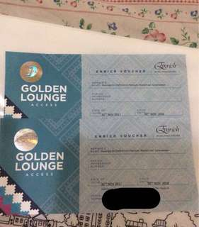 CIMB enrich golden lounge voucher (pair)
