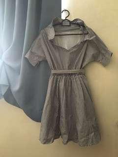 Broad neck line A line dress