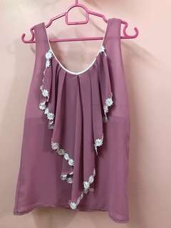 Women OL blouse top sleeveless flower lace