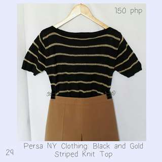 Persa NY Clothing: Black and Gold Striped Knit Top