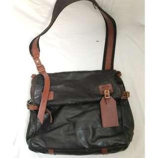 JAS M B Brown Leather Crossbody Messenger Bag