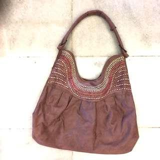 Velvet beaded hand bag