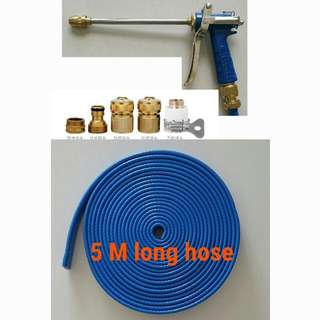 """Charm blue spray gun head (High pressure) with 5 M long foldable hose (The inside diameter is 1/2"""" about 12.5mm )"""
