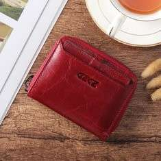 Women Bifold Wallet Genuine Leather Short Card Holder Purse