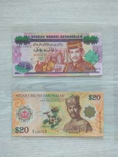 Brunei $20 & $25 note
