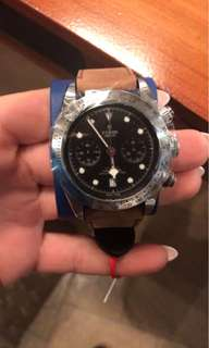 {歐水}Tudor 79350 皮帶,啟承系列黑色精鋼腕錶