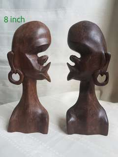 Hand craft 8 inch statue with black wood set