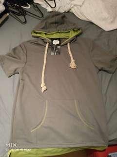 Green and grey short sleeve hoodie