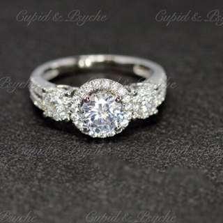 RG207136 Cupid & Psyche Jewellery 戒指 一卡 主石 求婚戒指 鑽戒 18K 鍍鉑金 925純銀 蘇聯石 ENGAGEMENT RING 禮物 八心八箭