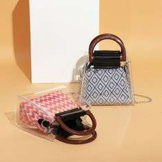 Brenice Women Summer Transparent Chain Handbag Canvas Chic Jelly Bag Beach Bag