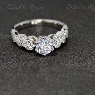 RG202944 Cupid & Psyche Jewellery 戒指 一卡 主石 求婚戒指 鑽戒 18K 鍍鉑金 925 silver 蘇聯石 ENGAGEMENT RING 禮物 八心八箭