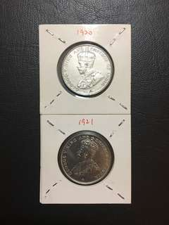Straits Settlement 50 cents 2 year type (1920 and 1921)