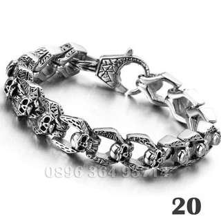 Gelang Rantai Skull Pria/Cowok Keren/Modis/Fashion/Mewah Titanium Stainless Steel - 020