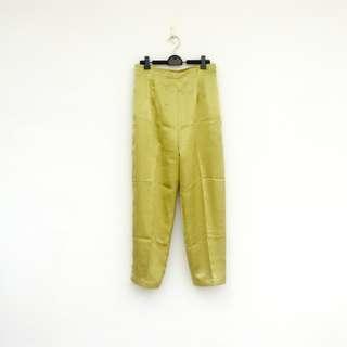 🚚 二手 橄欖青綠 緞面 高腰 鬆緊 長褲 明太子 603