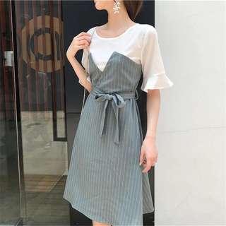 🚚 韓版氣質女裝條紋繫帶假兩件連身裙洋裝