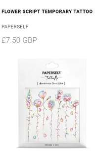 PaperSelf Temp Tatoo - Flower Script