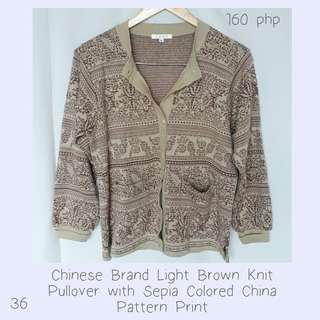 Chinese Brand Light Brown Knit Pullover with Sepia Colored China Pattern Print
