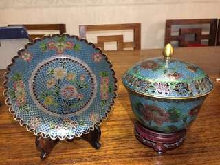 Cloisonné plate and bowl set