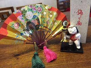 Japanese display doll and fan set