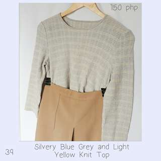 Silvery Blue Grey and Light Yellow Knit Top