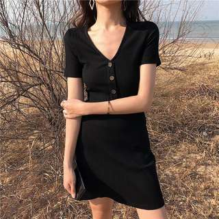 🚚 Instock V Cut Button Down Dress (Free Mailing)