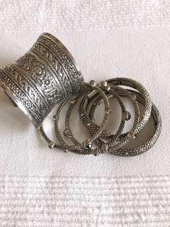 Silver bracelets and bangles set