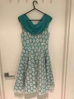 Modcloth teal and white lace dress