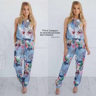 FLORAL JUMPSUIT  Fits S To L  Price : 450