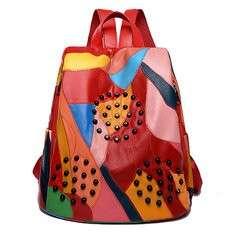 Women Genuine Leather Patchwork Handbag Shoulder Bag