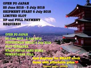 PRE ORDER JAPAN 25 JUNE - 3 JULY 2018