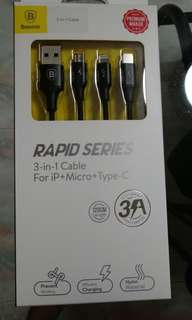 Rapid Series 3 In 1 Cable For iP + Micro + Type C 120cm Long