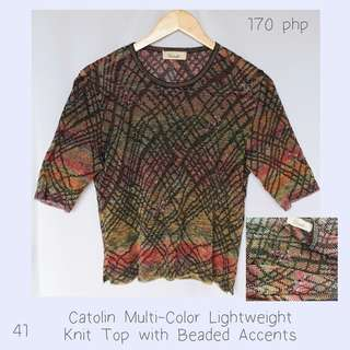 Catolin Multi-Color Lightweight Knit Top with Beaded Accents