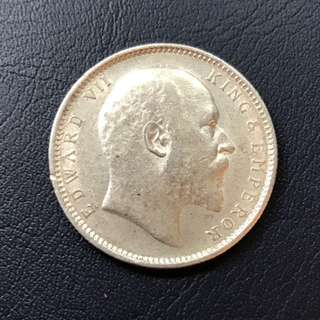 King Edward - VII - 1906 - silver one rupee coin