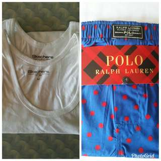 Bundle of Ralph Lauren Boxer Shorts and Skechers Tank Tops