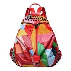 Women Genuine Leather Patchwork Backpack Handbag