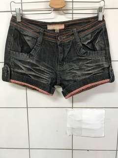 韓版 歐美拼色反折牛仔短褲