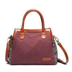 Brenice Women Canvas Tote Handbag Bohemian Crossbody Bag