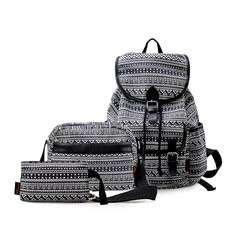 Women Printing 3 Pieces Backpack Clutches Bag Crossbody Bag
