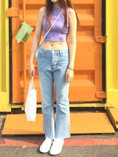 🚚 紫色短版綁帶背心