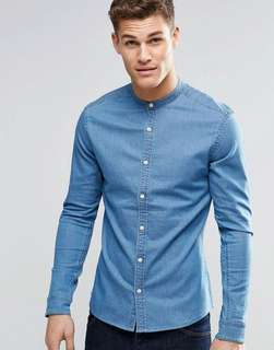 Clearance- ASOS Denim Grandad Collar