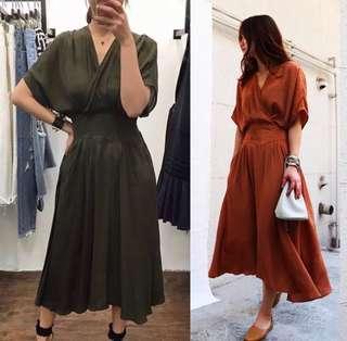 2018 South Korean spring and summer new waist V-neck fashion dress