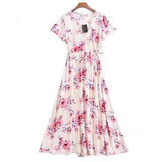 🚚 OshareGirl 06 歐美女士印花和服式綁帶造型連身洋裝連身裙