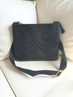 Gucci replica sling black bag glossy finish