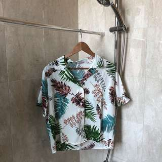 bn uzzlang tropical floral button up tee